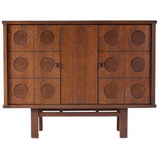 Midcentury Belgian Brutalist Oak Cabinet For Sale