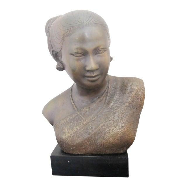 20th Century Figurative Bronze Sculpture of Burmese Thai Woman Female Bust For Sale