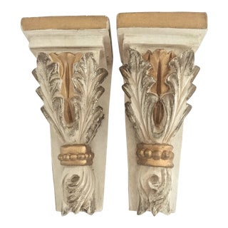 Vintage Italian Florentine Rococo Style Carved Wall Mounted Shelves- Set of 2 For Sale