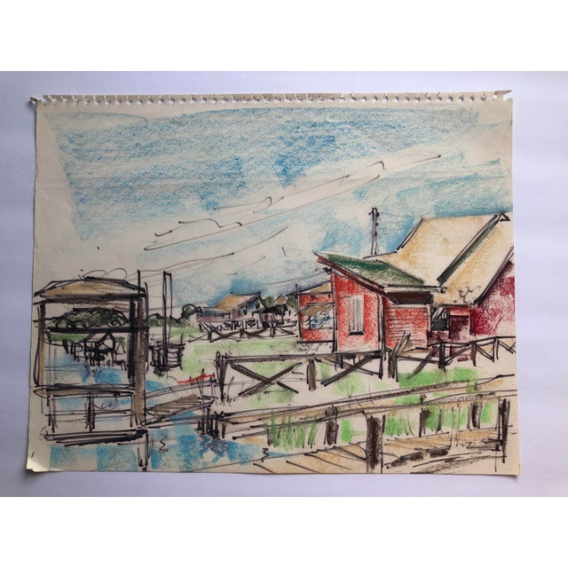 Drawing/Sketching Materials Pawley's Island South Carolina Mid-Century Lowcountry Scene, 1966 For Sale - Image 7 of 7