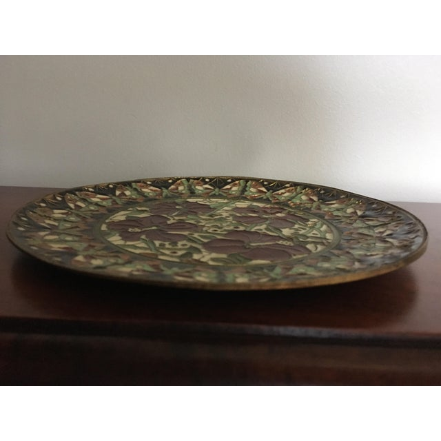 Boho Chic Hand Painted Floral Butterfly Cloisonné Decorative Plate For Sale - Image 3 of 11
