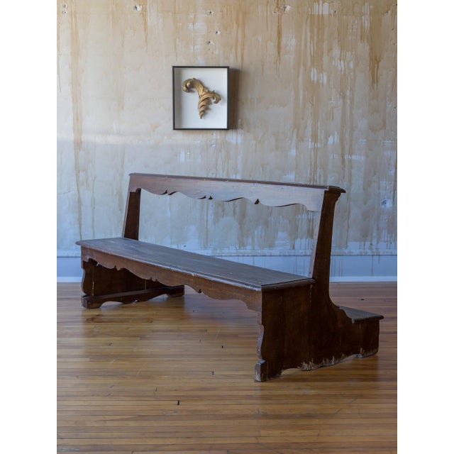 This nicely proportioned Italian antique church pew with back kneeler dates back to the early 19th century. The simple...
