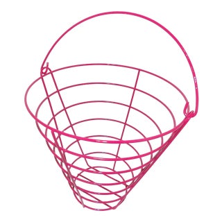 1980s Modern Pink Metal Wire Egg Basket/Catchall