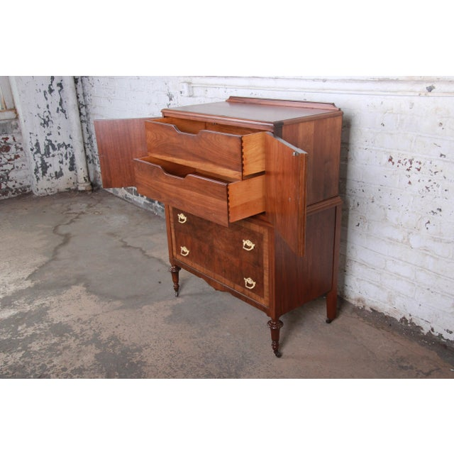 Metal Early Herman Miller Burled Walnut Gentleman's Chest, Circa 1920s For Sale - Image 7 of 13