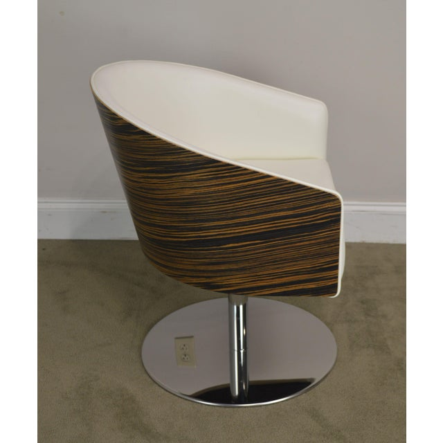2010s White Leather & Zebra Wood Barrel Back Pair Chrome Pedestal Swivel Lounge Chairs by Cape (B) For Sale - Image 5 of 13