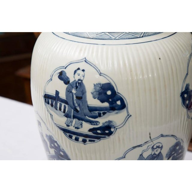 Pair of Chinese Blue and White Lamps - Image 3 of 7