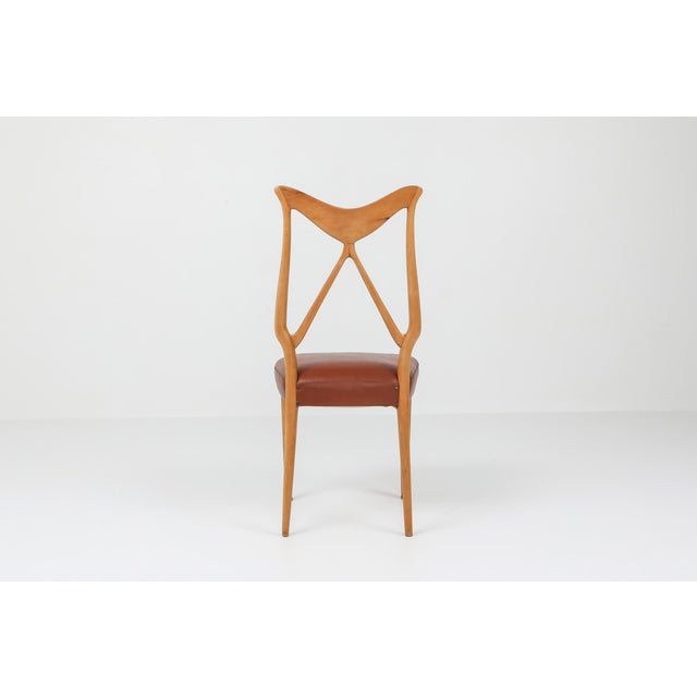 1970s Oak & Leather Dining Chairs in the Style of Ponti - Set of 6 For Sale - Image 9 of 12