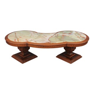 1950s Neoclassical Greek Key Onyx Coffee/ Cocktail Table For Sale