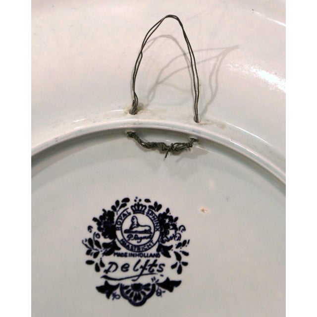 Mid-Century Dutch Hand Painted Royal Sphinx Maastricht Delft Platter For Sale - Image 10 of 11