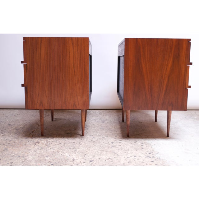 Walnut Pair of Mel Smilow Three-Drawer Walnut Chests For Sale - Image 7 of 13