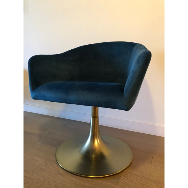 "Beautiful blue West Elm accent chair, like-new condition - barely used. ""With its stylish bucket seat covered in luxurious..."