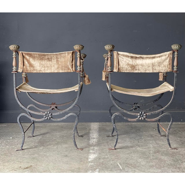 Campaign Pair of Antique Iron and Brass Curule Chairs For Sale - Image 3 of 10
