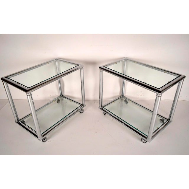 Mid-Century Modern Chrome End Tables - Pair - Image 2 of 7