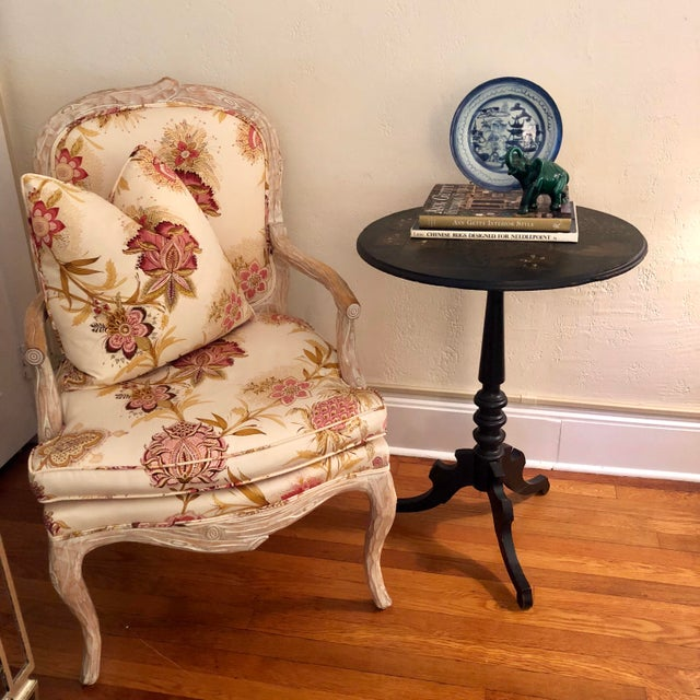 Antique Black Tilt Top Table With Painted Gold Chinoiserie Scene For Sale - Image 12 of 13