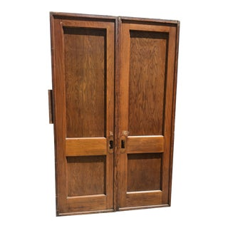 19th Century Revival Wood Double Pocket Door For Sale