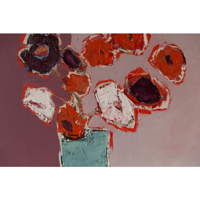 "Bill Tansey ""Mixed White Orange & Purple Bouquet"" Abstract Floral Oil on Canvas For Sale - Image 4 of 5"