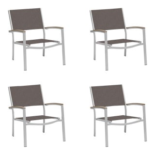 Outdoor Sling Lounge Chair, Natural and Cocoa (Set of 4) For Sale