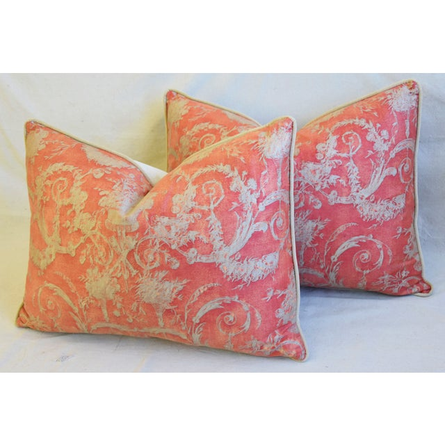 """Red Italian Fortuny Festoni Feather/Down Pillows 24"""" X 18"""" - Pair For Sale - Image 8 of 13"""