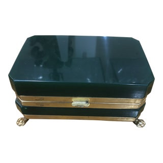 1920s Vintage French Art Deco Green Glass Footed Box For Sale