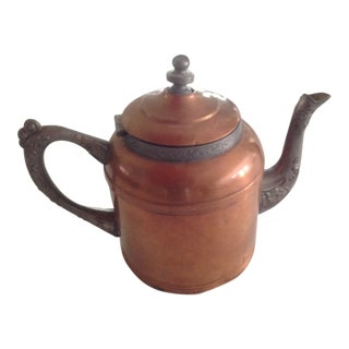 Antique Sovereign G.I.Mix & Co. Copper & Pewter Teapot Hinged Lid Handle Spout For Sale