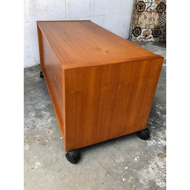 Mid-Century Modern Vintage Mid-Century Danish Modern Teak Tv Stand/Media Cabinet on Casters For Sale - Image 3 of 10