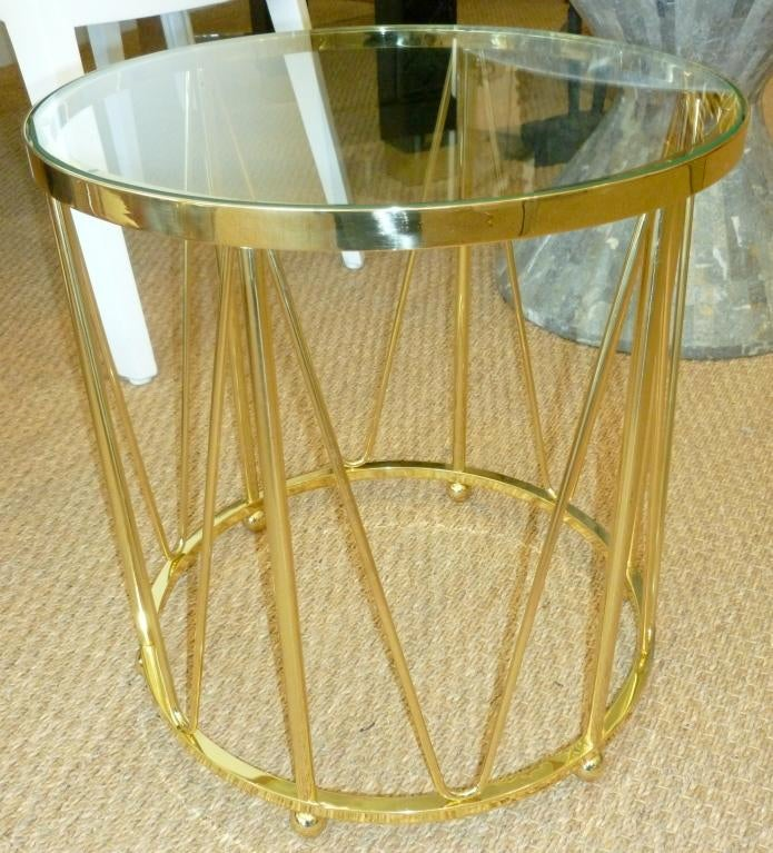 Sculptural Solid Polished Brass End/Side Drum Table For Sale   Image 4 Of 6