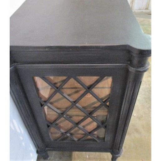 Boho Chic Distressed Black Console with Glass Doors For Sale - Image 4 of 6