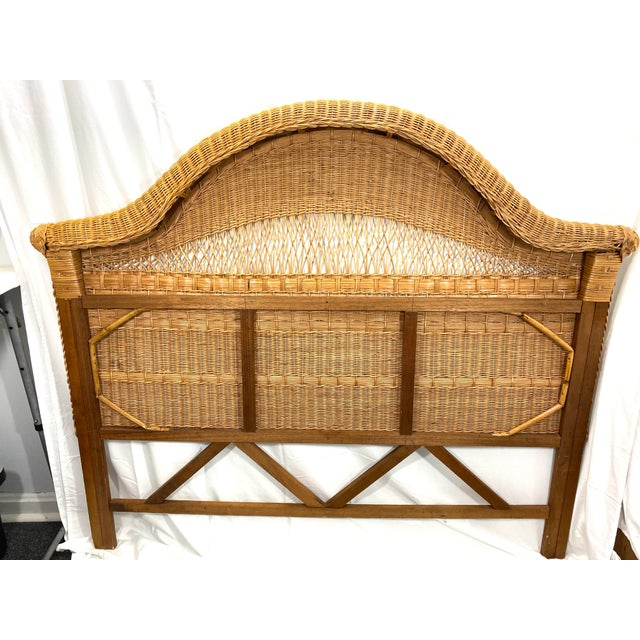 Boho Chic 1960s Queen Size Wicker Headboard For Sale - Image 3 of 13