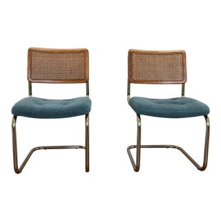 Brass Upholstered Cane Cantilever Chairs - a Pair For Sale