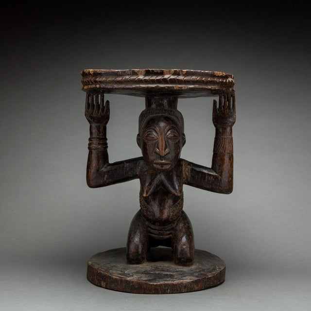 1940s Hemba Wooden Caryatid Stool For Sale - Image 5 of 5