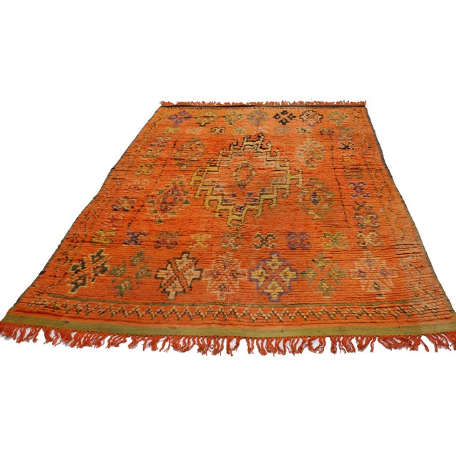 Abstract Vintage Berber Moroccan Rug, 4'11x7'11 For Sale - Image 3 of 5
