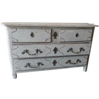 French XVIII Painted 4 Drawer Chest of Drawers With Original Hardware For Sale