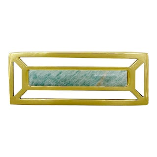 Addison Weeks McCoy Pull, Brass & Amazonite For Sale