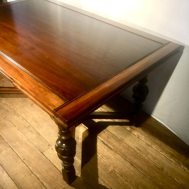 """62""""-96"""" Jacobean Dining Table With Breadboard Extensions For Sale In Baltimore - Image 6 of 12"""