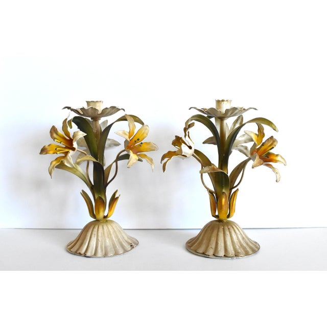 Shabby Chic Vintage Italian Tole Lilies Flowers Painted Tole Candle Holders - a Pair For Sale - Image 3 of 10