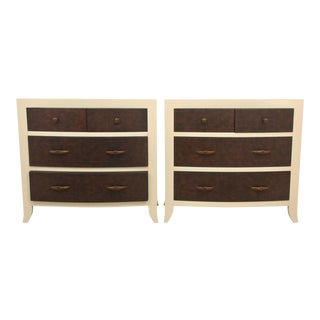 Bernhardt Faux Gator Chest of Drawers - A Pair