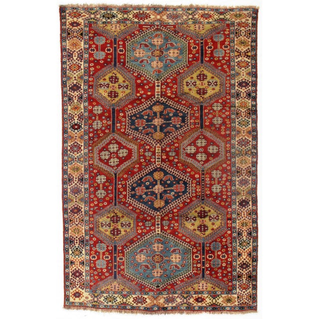 1950s 1950's Antique Persian Yalameh Area Rug- 6′6″ × 10′2″ For Sale - Image 5 of 5