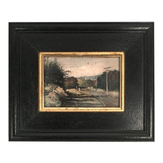 19th Century Small Landscape Painting with Railroad Tracks and Telegraph Poles