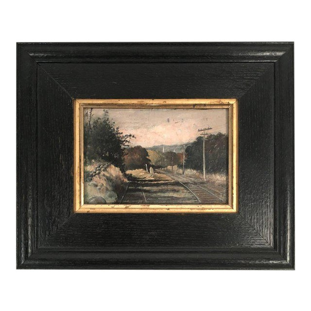 19th Century Small Landscape Painting with Railroad Tracks and Telegraph Poles For Sale