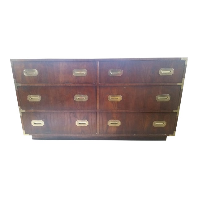 Wood & Brass Campaign Dresser - Image 1 of 7