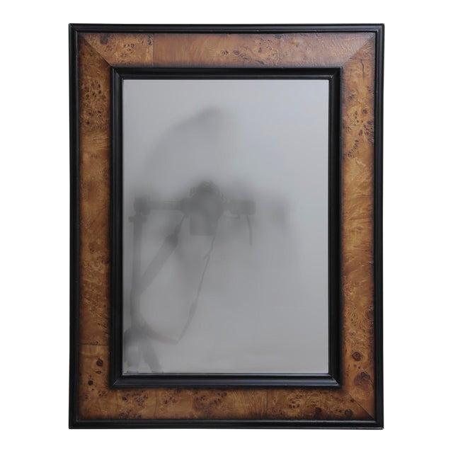 Mid 20th Century Vintage Burl Wood And Ebonized Mirror