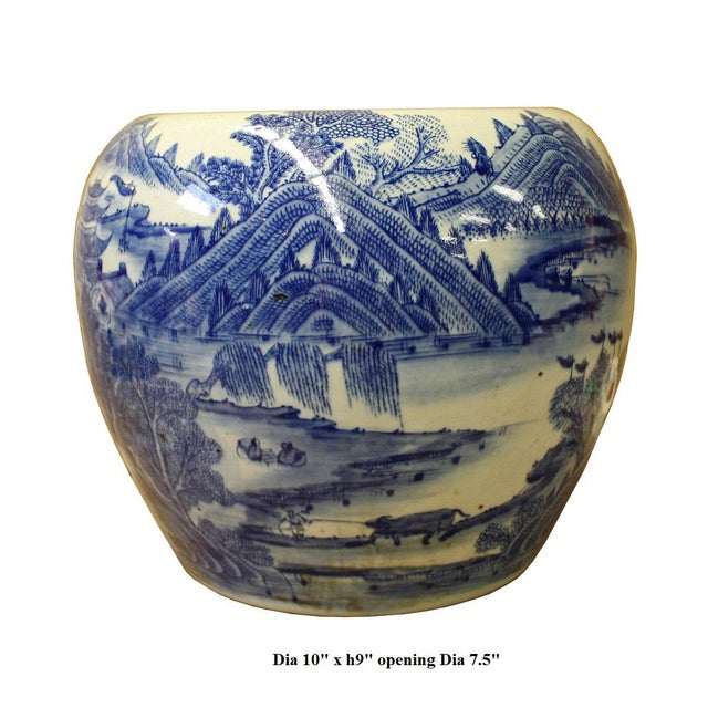 Chinese Blue White Scenery Porcelain Pot Vase For Sale - Image 5 of 6