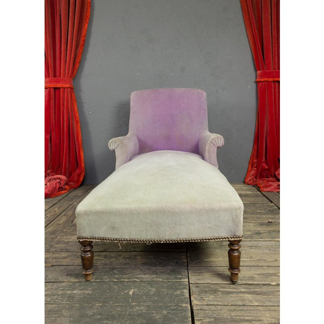 French Faded Lavender Velvet Chaise For Sale - Image 4 of 11