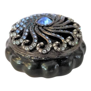 Jay Strongwater Black & Blue Swirl Trinket Box For Sale