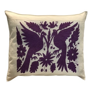 Mexican Tenango Hand Embroidered Pillow Cover For Sale