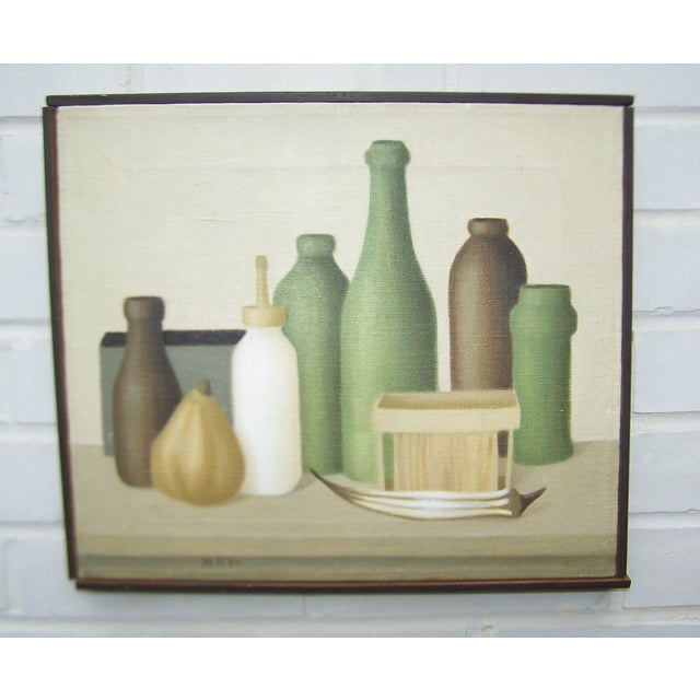 Mid-Century Green Bottles Still Life Painting - Image 2 of 8