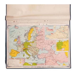 Vintage Denoyer-Geppert European Area in WWII Map