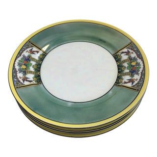 Noritake Art Deco Lusterware Hand Painted Bird Plates - Set of 4