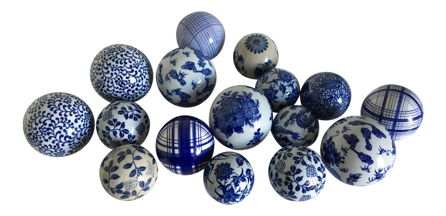 Asian Blue White Ceramic Decorative Balls Set Of 16 Chairish