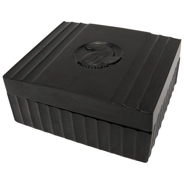 1920s Dunhill American Art Deco Black Bakelite Storage Box with Pegasus Motif For Sale - Image 9 of 9